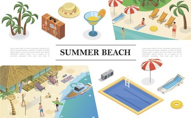 Isometric Summer Vacation Concept