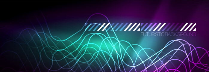 Glowing neon abstract lines, techno futuristic template