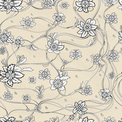 Seamless vector pattern with flowers, leaves and contour lines.