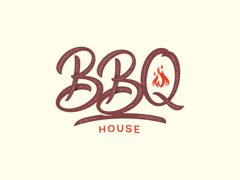 BBQ vector house script colored