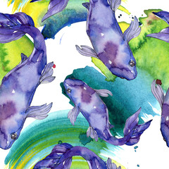 Poster Submarine Aquatic underwater colorful tropical goldfish set. Watercolor background illustration set. Seamless background pattern.