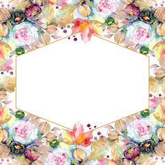 Bouquets floral botanical flower. Watercolor background illustration set. Frame border ornament square.