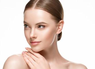 Obraz Beautiful woman female skin care healthy hair and skin close up face beauty portrait - fototapety do salonu