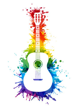 Creative rainbow musical illustration. Vector decoration element with white guitar silhouette and rainbow paint splashes