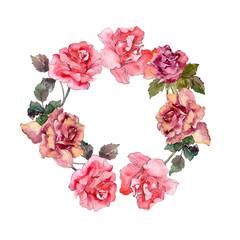 Pink rose floral botanical flower. Watercolor background illustration set. Frame border ornament square.