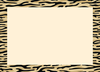 Zebra frame a black space for a text, logo, or designs. View from above. Vector illustration.