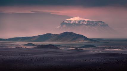 Herdubreid table mountain at the vast lava field of Odadahraun in northeast Iceland