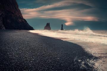 Famous Reynisfjara black sand beach on the south coast of Iceland