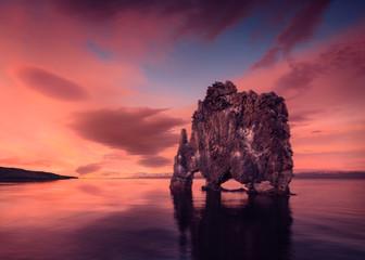 Hvitserkur basalt stack aka Dragon Rock in northwest Iceland Iceland
