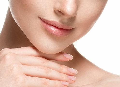 Woman lips chin neck beautiful skin age care
