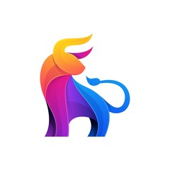 Abstract Bull Color Full Design illustration vector template