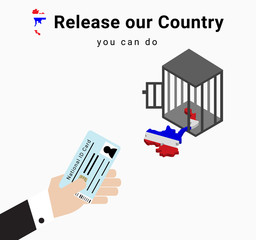 all voter or constituency in suit exchange ID card at polling station and the map is released from the cage, the illustration and vector to show Campaigning for election day in Thailand