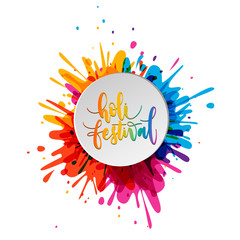 Happy Holi lettering with colorful confetti and paper plate frame. Indian Traditional festival of colors. Hindu spring celebration poster.