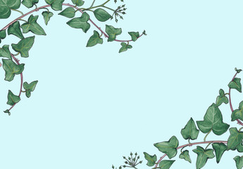 Abstract floral background with green leaves.