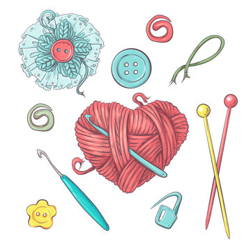 Set for handmade ball of yarn and accessories for crocheting and knitting.
