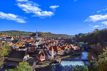 Aerial view over historic centre of Chesky Krumlov old town in the South Bohemian Region of the Czech Republic on Vltava River. UNESCO World Heritage Site