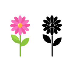 two stylized vector daisy flowers