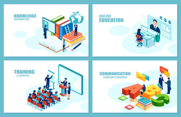 Modern education career growth vector for website development. Set of web page templates