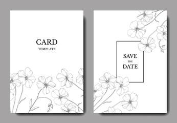Vector Flax floral botanical flower.Black and white engraved ink art. Wedding background card floral decorative border.