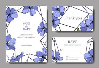 Vector Blue Flax floral botanical flower. Engraved ink art. Wedding background card floral decorative border.
