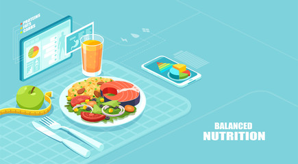 Isometric vector of a nutrition app showing nutrition facts and assisting in calories count of a meal Papier Peint