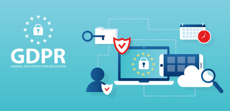 Vector for general data protection regulation in EU law on data privacy