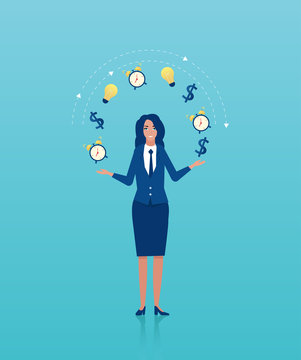 Vector of a businesswoman juggling business icons.
