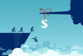 Vector of group of business people running towards a dollar sign tied to a liar long nose and falling off a cliff