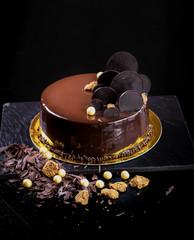 Fancy mirror glaze chocolate cake