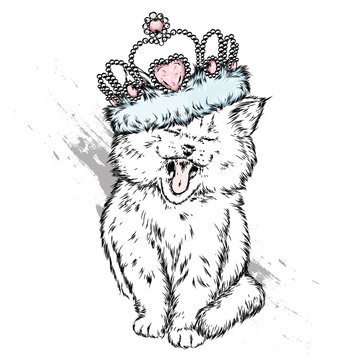 Cute kitten in the crown. Vector illustration for postcard or poster, print for clothes. Princess. Cat.