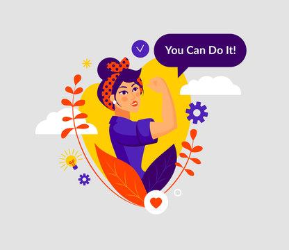 Flat style International Women's Day vector. Modern abstract version of vintage poster. Rosie the Riveter. Feminine design concept. Illustration for web site, social media, card, banner, poster. EPS10
