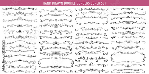 Hand Drawn Vector Ornate Swirl Doodle Vintage Calligraphic Design