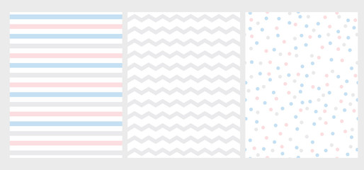 Set of 3 Abstract Geometric Vector Pattern. Pink, Blue an Gray Stripes, Chevron and Dots on a White Background. Cute Simple Repeatable Geometric Layouts. Pastel Color Art with Lines, Zigzag and Dots.
