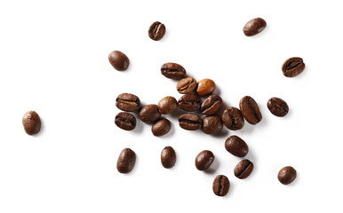 Tuinposter koffiebar Coffee beans isolated on white background, top view