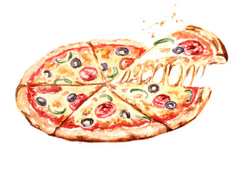 Delicious fresh hot pizza. Watercolor hand drawn illustration, isolated on white background