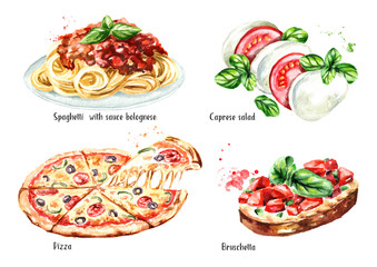Italian food set. Pizza, spaghetti with sause bolognese, Caprese salad, Bruschetta. Watercolor hand drawn illustration isolated on white background