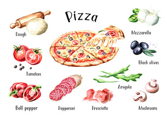 Italian Pizza. Ingredients. Watercolor hand drawn illustration, isolated on white background
