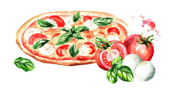 Pizza with tomatoes, mozzarella cheese and Basil leaves. Watercolor hand drawn illustration isolated on white background