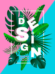 creative poster design with tropical leaves on duo tone  background