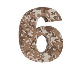 3D rendering Camouflage number 6 six. 3D render Illustration.
