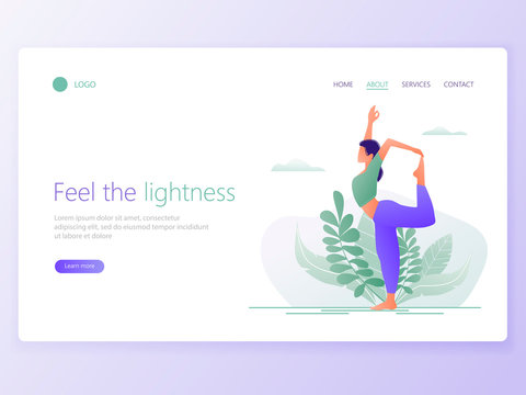 Landing Web page template of Yoga School, Studio. Modern flat design concept of web page design for website and mobile website. Woman does yoga exercise, yoga pose. Vector illustration