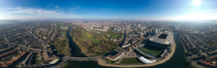 Cardiff aerial view panorama in Wales capital cityscape 360 panoramic skyline feat. River Taff, Principality Stadium, Cardiff Castle, famous landmarks and city center downtown streets from above in UK