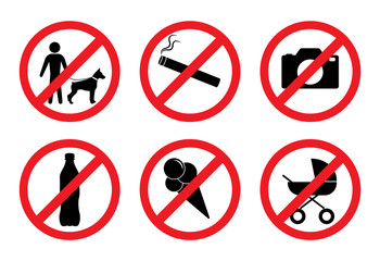 Prohibition signs. With a dog is impossible. No smoking. You can not take pictures. With alcohol is impossible. With ice cream is impossible. With the stroller can not.