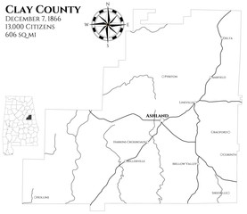Large and detailed map of Clay county in Alabama, USA
