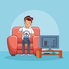 Teenager with videogame cartoon