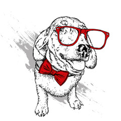 Portrait of a dog or puppy with glasses and tie. Vector illustration for greeting card or poster, print on clothes.
