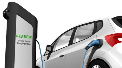 Electric car vehicle Charging Station - Electric car power supply for electric car charging. Electric car charging station - 3d render
