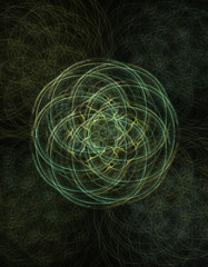 Green and Gold Spirals Abstract Fractal Design - 3d digitally generated render