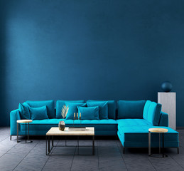 Modern dark blue living room interior with azure color couch,wall mock up,3d render