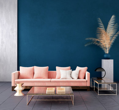 Modern dark blue living room interior with pink color couch and golden decor,wall mock up,3d render